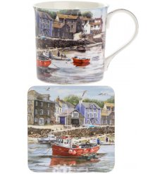 Bring home the beautiful view of the harbour with this detailed illustrated Mug and Coaster Set