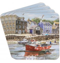 Bring home the beautiful view of the harbour with this detailed illustrated set of coasters