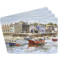 Bring home the beautiful view of the harbour with this detailed illustrated set of placemats