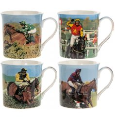 A vintage inspired collection of printed china mugs, each finished with an up close shot of a winning horse races