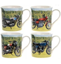 A vintage inspired collection of printed china mugs, each finished with an up close shot of a classic Motorbike