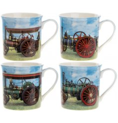A vintage inspired collection of printed china mugs, each finished with an up close shot of a classic Tractor Engine