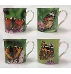 A beautiful collection of printed china mugs, each finished with an up close shot of a butterfly