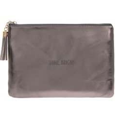 "A glamorously styled metallic toned faux leather clutch bag with a chic ""Time To Shine"" quote"
