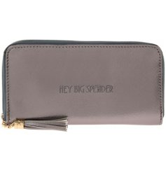 "A glamorously styled metallic toned faux leather purse with a chic ""Hey Big Spender"" quote"