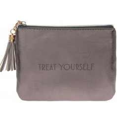 """A glamorously styled metallic toned faux leather coin purse with a chic """"Treat Yourself"""" quote"""