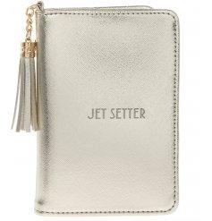 A Shine Bright Jet Setter Gold Passport Holder