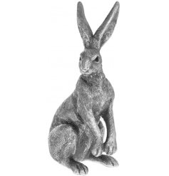 Set in a distressed silver tone, this beautifu posed hare will look perfect in any vintage themed home