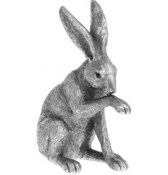 Set in a distressed silver tone, this beautiful sitting posed hare will look perfect in any vintage themed home