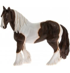 Small Brown and White Cob Horse Figure  A beautifully detailed ornamental figure in a Cob Horse design.