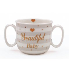 A beautiful Mad Dots designed mug in a neutral grey tone