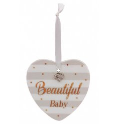 A beautiful Mad Dots designed hanging heart plaque in a neutral grey tone