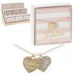 Coated in a golden tone and perfectly finished with a 'Fabulous Friend' scripted heart