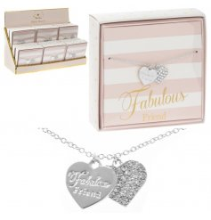 Coated in a sterling silver and perfectly finished with a 'Fabulous Friend' scripted heart,