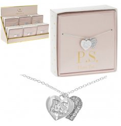 Coated in a sterling silver and perfectly finished with a 'P.S. i love you..'