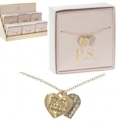 Coated in a gold colouring and perfectly finished with a 'P.S. i love you..' scripted heart