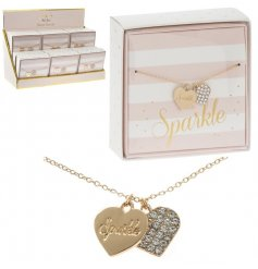 Coated in a golden colouring and perfectly finished with a 'Sparkle' scripted heart,