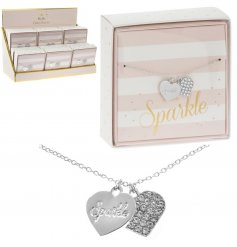 Coated in a sterling silver and perfectly finished with a 'Sparkle' scripted heart