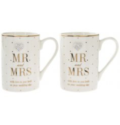 An assortment of 2 Mad Dots Mr & Mrs Wedding Day Mugs