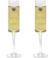 This beautiful set of sleek flute glasses will be sure to make a lovely gift idea for any newly wed couple