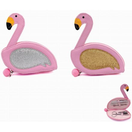 Fabulous Flamingo Manicure Cases, 2ass