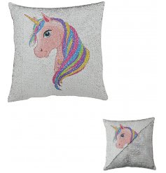 Add a 'magical unciorn touch to your little princesses bedrooms with this trend setting sequin cushion