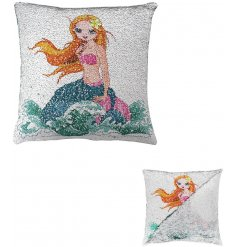 Add a 'clam' mermaid touch to your little princesses bedrooms with this trend setting sequin cushion