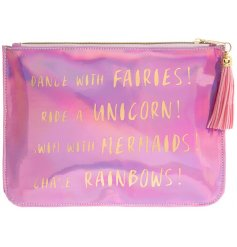 Add a dash of magic to any trip out and about with this pearlescent shimmering zip up pouch
