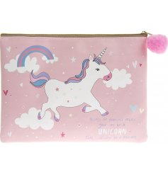 Add a dash of magic to your handbag with this rose pink, unicorn covered purse