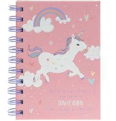 Add a dash of magic to your note takings with this rose pink, unicorn covered notebook