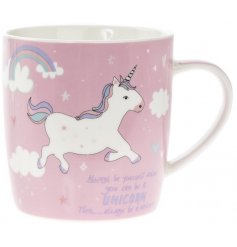 Add a dash of magic to your morning coffee break with this rose pink, unicorn covered drinking mug