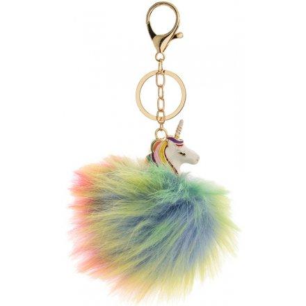 Colourful Unicorn Pompon Key Chain
