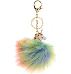 With its gold chain and clip, this sweet unicorn inspired pompom will sass up any old handbag!