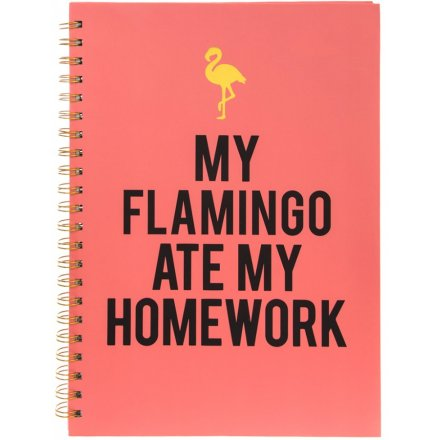 Pink Flamingo A4 Notebook