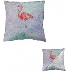 Add a glitzy touch to your home decor with this fabulous flamingo themed sequin cushion