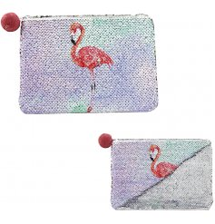 Add a sparkling sequin touch to your handbag with this glam flamingo inspired coin purse