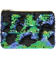 Keep stored all your loose change and cards on a night out in this super glitz colour changing sequin zip up purse