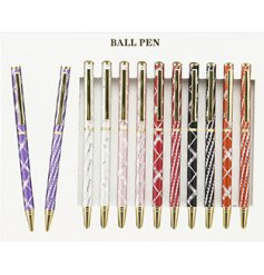 A stylish set of 6 assorted ball point pens, each finished with an individual colour and pattern