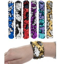 Bring a glitzy sequin touch to any outfit or style with this funky assortment of sequin covered snapbands