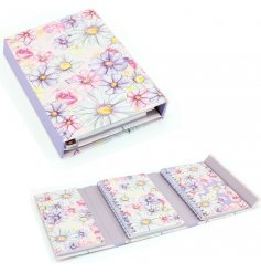 A beautifully illustrated magnetic Tri-folding organiser , detailed with a floral decal and purple trimmings