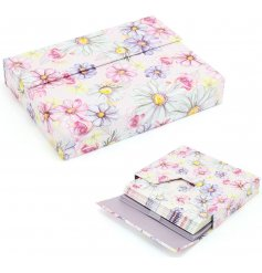 A beautifully illustrated set of note cards , detailed with a floral decal and purple trimmings