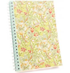 A charming A4 notebook beautifully decorated in a Golden Lily themed print, perfect for quick note taking and setting r