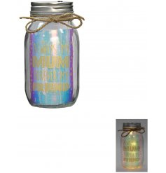 Project a beautiful warm glow into any home space with this sweetly worded LED glass jar