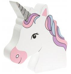 A magical and glittery styled unicorn head money box,