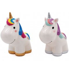 Get your spare change saved up with this fun assortment of unicorn themed money banks