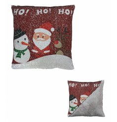A Two Tone Sequin Ho Ho Ho Cushion