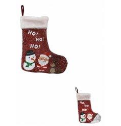 A Two Tone Sequin Ho Ho Ho Christmas Stocking