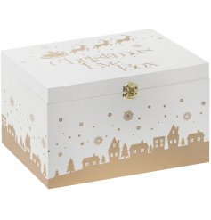 A beautiful wooden Christmas eve box with a gold reindeer and snowflake design.