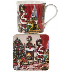 A traditional mug and coaster set with a charming Father Christmas scene.