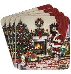 A set of 4 Classic Christmas Scene Santa Coasters